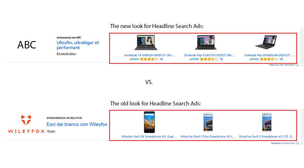 Image of the New look for Headline Search Ads on AMS vs the old look
