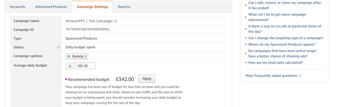 Image of AMS recommended budget feature inside the campaign AmazonPPC
