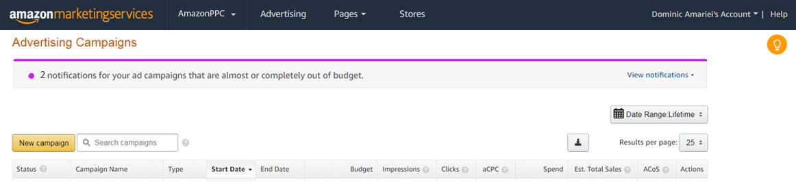 Image of AMS recommended budget feature notifications AmazonPPC