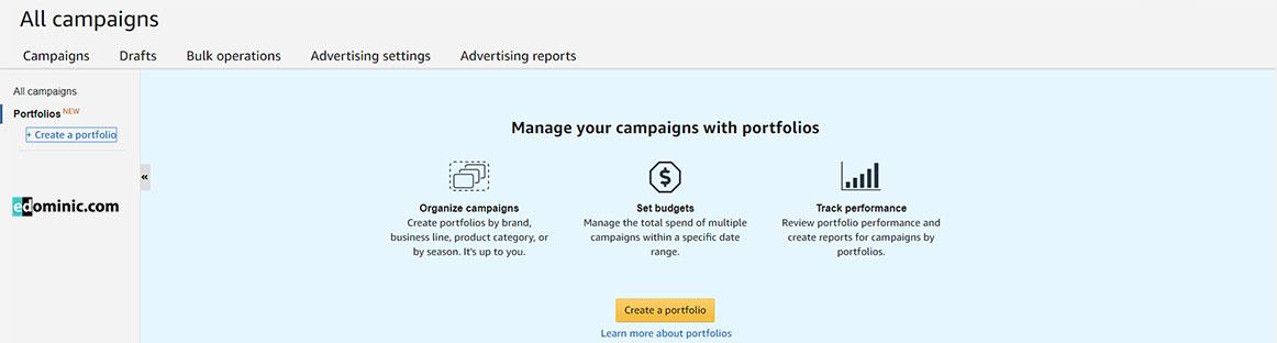 Image of Key benefits of Portfolios in the Amazon Advertising Console AmazonPPC