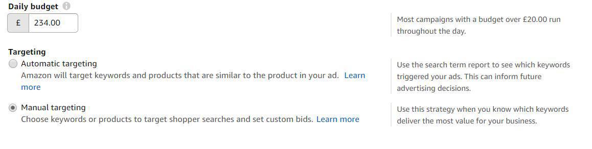 Image of Manual targeting under Amazon Advertising Console AmazonPPC