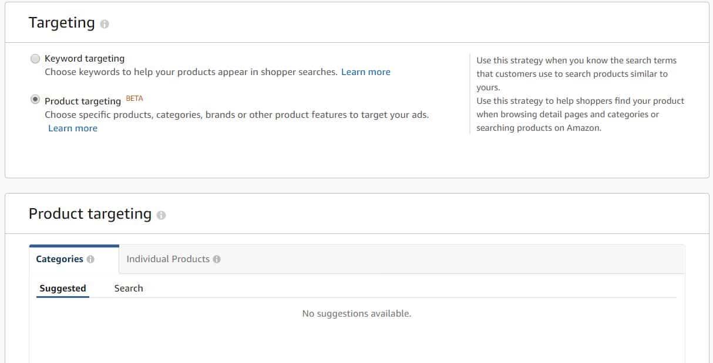 Image of Product targeting under Amazon Advertising Console AmazonPPC