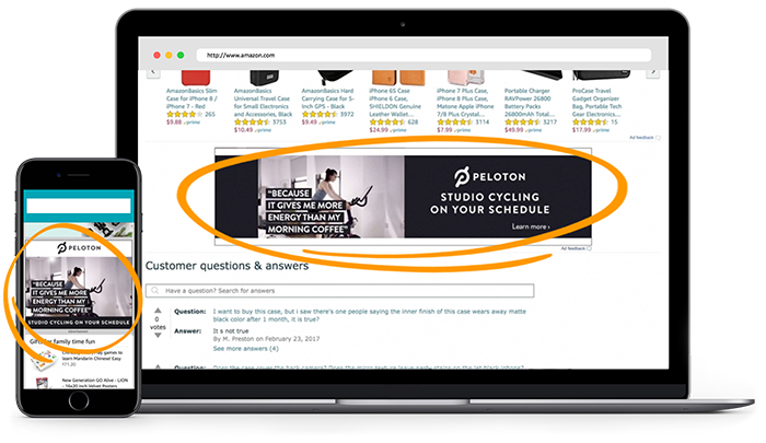 Image of Example of out-stream video ad with amazon advertising - edominic